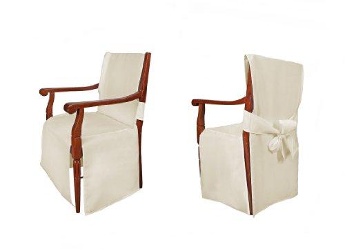 TexDeko Universal Stuhlhussen - Modell Monaco für Stühle mit Armlehne Creme