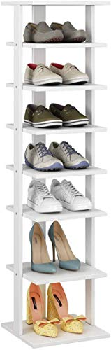 HOME BI 7-Tier Wood Shoe Rack, Double Rows 7-Tier Shoe Shelf,Shoe Storage Stand, Entryway Shoe Tower, Vertical Shoe Organizer Perfect for Narrow Closet, Entryway, Hallway, Bedroom (Small, White)