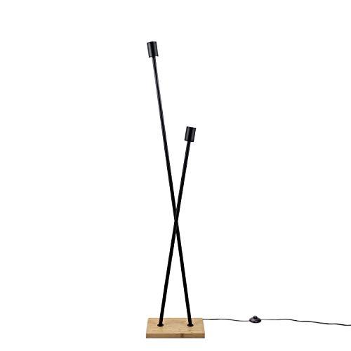 Paco Home Lampadaire Lampe De Bureau Lampe LED Salon Vintage Rétro Design Industriel E27, Taille Set:Sans source, Pied de lampe:Lampadaire Bambou