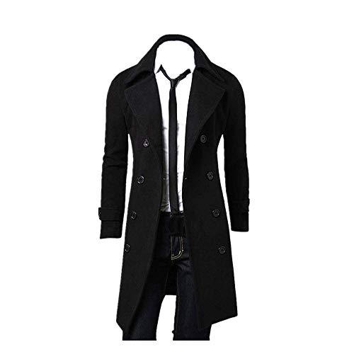 KPILP Herren Winter Zweireiher Revers Stehkragen Windjacke Trench Warm Outwear Smart Jacke Lapeled Woolen Langer Mantel(A-schwarz, EU-48/CN-L