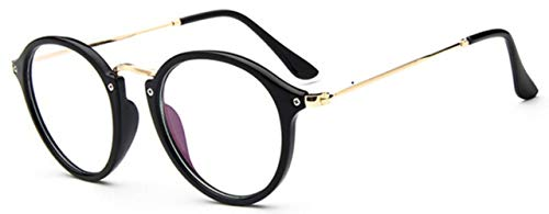 Boner Transparant Retro Dames Brilmontuur Mode Heren Brilmontuur Ronde Heldere Lens Bril Optische Brilmontuur, Zwart