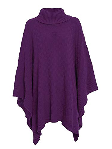 Echt leven FASHION LTD. Womens Polo Turtle Neck Losse Mand Gebreide Poncho Dames Plain Cape Jumper Top