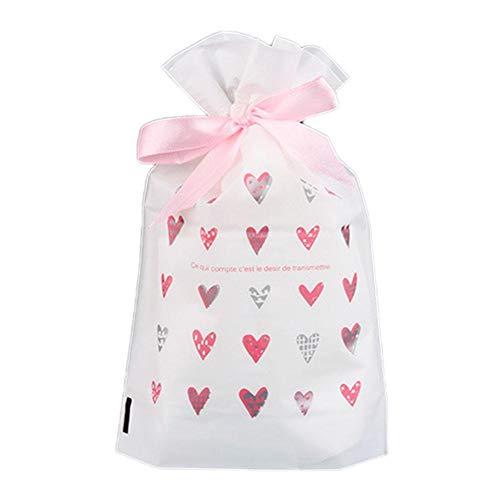 Lumanuby. 50x Süßigkeiten Beutel aus PE Kordelzug Bodenbeutel für Taffy Cookie Gummy Nougat Hartkaramell Keks für Bäckerei Konditorei oder Geschenkpaket für Festival oder Geburtstag 14.5x6x17cm