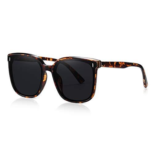 kimorn Sonnenbrillen Für Damen For Übergröße Große Transparente Nylon-Linse Unisex Outdoor-Quadrat-Brille K0971 (Schildpatt)