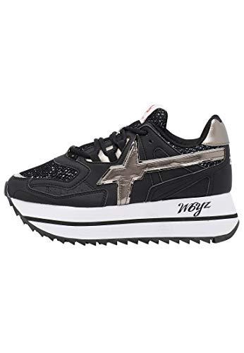 w6yz Debby-W.- Zapatillas deportivas con purpurina, color Negro, talla 35 EU