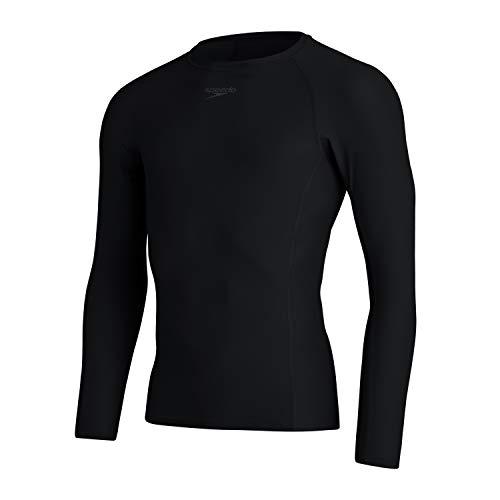 Speedo Essential Rash Guard - Camiseta de Manga Larga para Hombre, Hombre, 8132090001, Negro, XXS