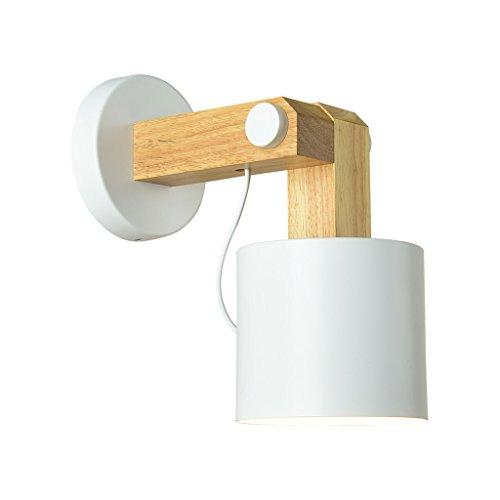 LQ Log Simple Nordic Color Living Room TV Lámpara de pared E27 Modern Wooden Art Bedroom Study (Color : White)
