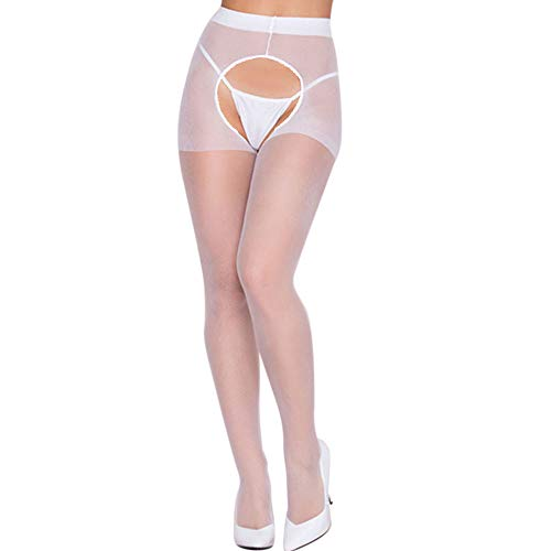 JFLYOU 2019 Women's Industrial Fishnet Suspender Hose with Duchess Lace Top Accent(White#WH,Free Size)