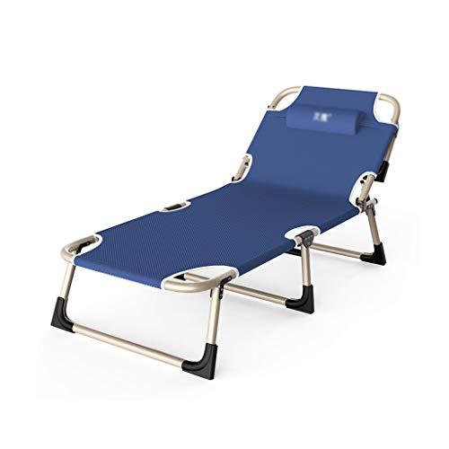 LJHA Liegestuhl Folding Sonnenliege, Outdoor-Camping-Portable-justierbarer Siesta Bed Beach Chair, Geeignet für Balkon Büro (Color : Navy Blue)
