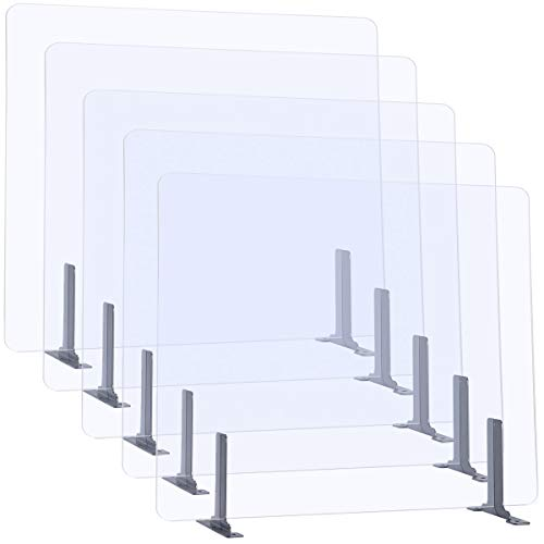 (Pack of 5) AQUIVER 32' x 24' Sneeze Guard - Acrylic 5mm Standing Barrier Protective Shield - Protective Shield for Clerk, Office, Receptionist, Conference, Classroom, Canteen, Restaurant