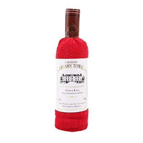 L_shop - Toalla de algodón Suave con Forma de Botella de Vino, Regalo de Boda, decoración del hogar, Rojo, As it is Description