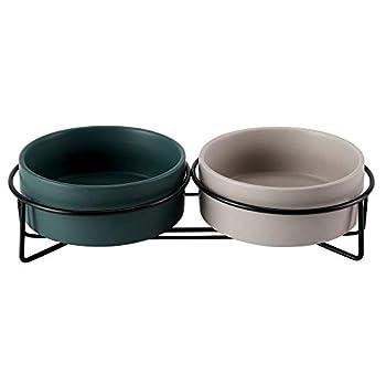 PETTOM Gamelle Chat Céramique(2x400ml), Bol Double pour Chat Déjeuner, Gamelle Surélevée Chaton pour Nourriture/Eau - Gris+Vert