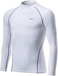 TSLA Kid's Thermal Long Sleeve Tops, Mock Turtle Neck Fleece Lined Compression Base Layer Shirts ZUT32-WHT_XL from Tesla