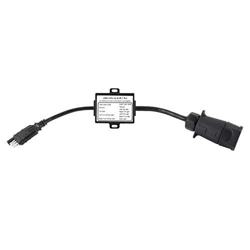 Cable Adaptador de Remolque, Cable de Enchufe de Remolque Instalación Plug-and-Play Enchufe Adaptador de Remolque para remolcar un vehículo Estadounidense de 4 vías y un Remolque Europeo de