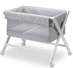 Pirulos 28313120 - Minicuna plegable tijera miel, diseño stars, 68 x 90 x71 cm, color blanco y gris