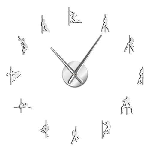 WEIGENG Reloj personalizado manual gigante 3D sin marco reloj de pared reloj de pared reloj de pared Variedad amante regalo pegatina de pared (color plata, tamaño de la hoja: 37 pulgadas)