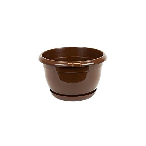 Pot de Fleur Plastique Malta 17 cm Brun avec Twist Soucoupe