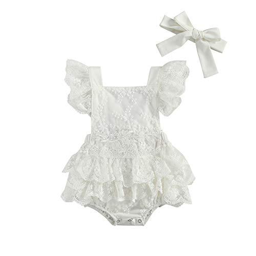 WangsCanis Pelele para bebé de 0 a 24 meses, con mangas cortas, con volantes, cuello cuadrado, estampado floral, 2 unidades con cinta para el pelo Blanco Encaje 6-12 meses