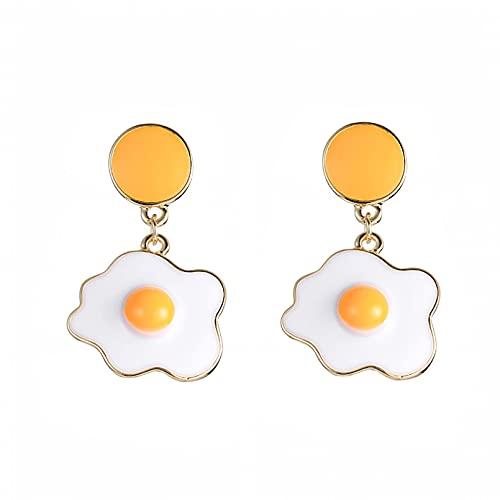 Pendientes Pendientes para las mujeres Japón y Corea del Sur Lindo Huevo escalfado Frito Huevo Frito Pendientes Pendientes Pendientes Temperamento Simple y versátil Pendientes de goteo sin orejas perf
