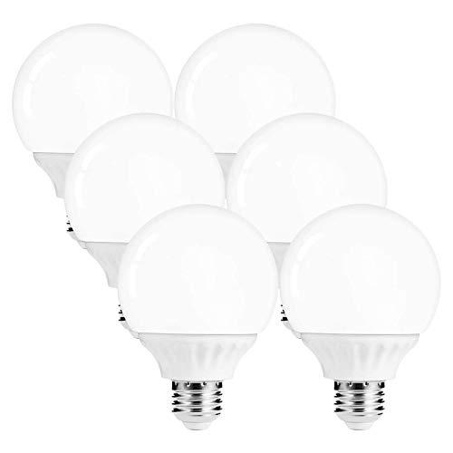 LOHAS G25 Globe Light Bulbs, LED Vanity Lights 40-45W Equivalent, Daylight 5000k Bathroom Round Light Bulb, 520lm Lights E26 Edison Base Lamp for Bathroom Makeup Mirror Home Lighting, Not-Dim, 6 Pack