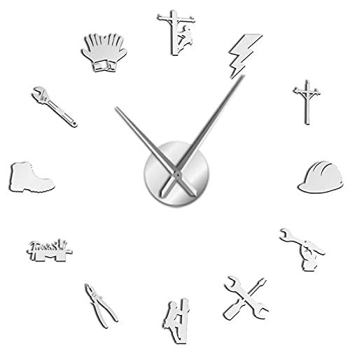 Reloj de Pared, Herramienta de Electricista, Reloj de Pared 3D DIY silencioso, reparación eléctrica, Superficie de Espejo acrílico, decoración de Pared, Reloj, Regalo para liniero