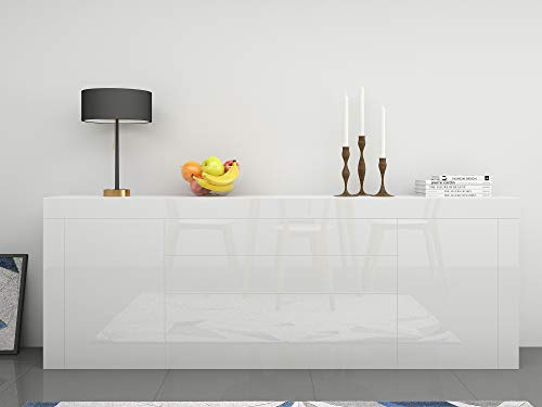 Keinode Aparador de armario de cuerpo mate con estantes frontales de cristal de alto brillo con luces LED, muebles modernos para sala de estar, comedor, cocina, baño, dormitorio, pasillo (blanco)