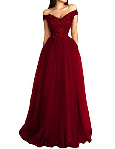 Prom Dresses Lace Long Formal Evening Gowns Off Shoulder Prom Dress Tulle Lace Evening Party Dress Appliques Burgundy