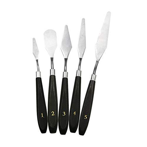 CVBN Cuchillo de Paleta Profesional del Equipo de la espátula del Acero Inoxidable 5pcs para la Pintura al óleo, Plata