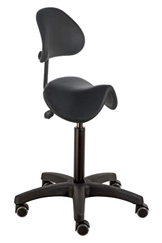 Sattelhocker mit Rückenstütze PUR RT 3414, Sitzhöhe ca. 55-74 cm, Sattelsitz + Rücken aus Polyurethan, Rollen mit weicher Radbandage