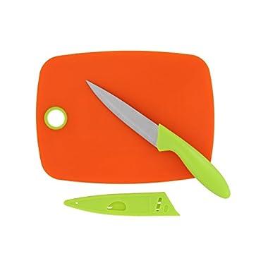IMUSA Paring Knife & Mini Cutting Board Set - Orange/Lime Green - Cut Fruit, Vegetables, and More, Make Food Prep Easy