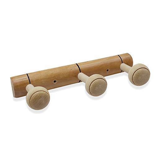 e!Orion Ganchos de Bambú Perchero de Montaje en Pared Percha de Pared de Madera con 3 Ganchos para Abrigos, Llaves, Bolsas, Bufandas,Sombreros y Paraguas (Bambú Natural)