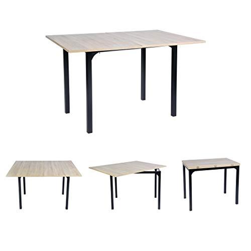 Mueble de Comedor Extensible de Roble de tamaño Grande, Rectangular, Mesa de extensión de Cocina, de Madera de Densidad Media, 60-120 x 90 x 75-77 cm