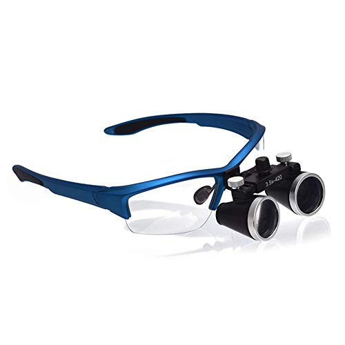 HUIGE Headset 2.5X Magnifying Glasses Binocular Dental Loupes Optical Removable Magnifier with LED Light Used in Medical Treatment Ophthalmology General Surgery Micro Plastic Surgery,Blue