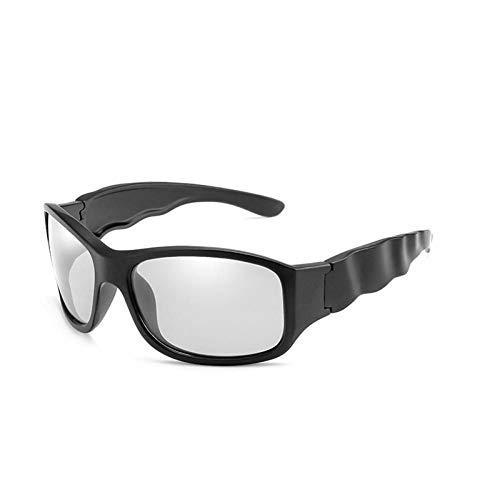 SHENY Gafas De Sol Fotocrómicas Polarizadas Steampunk Driving Chameleon Gafas Hombres Wave Big Frame Goggles Negro Mate