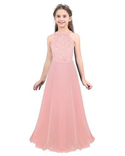 IEFIEL Niñas Vestido Princesa Largo de Fiesta Traje Elegante de Gasa Vestido Encage Floral de Cumpleaños Cuello Halter Vestido de Boda Dama de Honor Ropa de Ceremonia Bautizo Rosa A 10 años