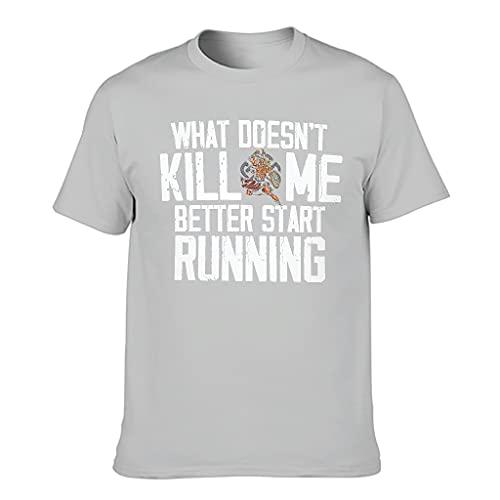 T-HGeschäft Men's T-Shirt Viking Was Mich Nicht kötet, Startet Besser mit dem Running Print Retro Sports Shirt - Grey - XL