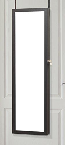 Plaza Astoria ja48V3bk sobre la puerta Soporte de pared joyería Armoire clóset con cerradura y 2llaves, espejo de longitud completa, con forro interior de almacenamiento, espejo de cambiador, color neg