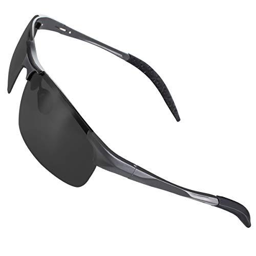 CHEREEKI Sports Sonnenbrille, Polarisierte Fahrradbrille mit UV400 Schutz, Sportbrille für Herren Damen Radfahren Autofahren Fischen Laufen Wandern Laufen(Grau-Grau)
