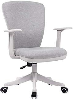 Fhw Ajustables sillas giratorias de Oficina, ergonómica con Respaldo Medio de Lino Ejecutivo Escritorio de la computadora Silla Silla de Oficina Silla de Armas Inicio del Respaldo Sillas de oficina