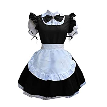 Fans-us Womens Anime Maid Costume Cosplay French Apron Maid Dress Outfit for Halloween Party XXL,Black