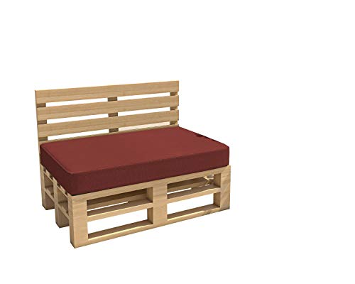 cojines para palets cojines para jardín impermeable Interior Exterior funda desenfundable asiento respaldo Sofá palets Sofá de patio (Asiento 120x60x15, Rojo oscuro)
