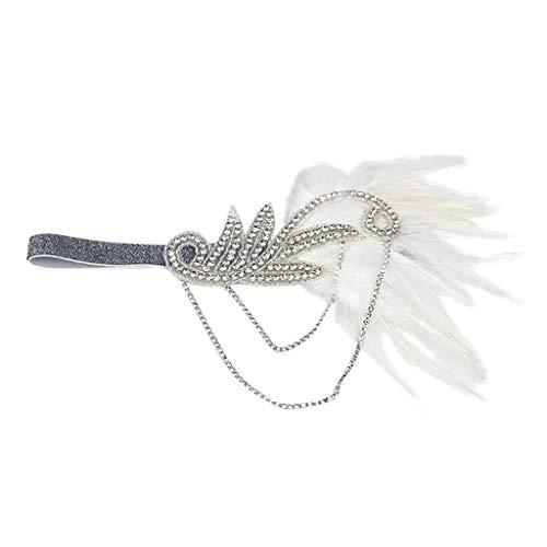 YWLINK Gatsby KostüM Accessoires Flapper Feder Stirnband MäDchen Retro 1920er Jahre ZubehöR Stirnband Klassisch Damen 20er Jahre GläNzend Kristallperlen