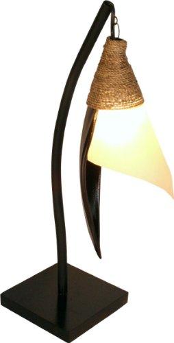 Guru-Shop Palmenblatt Stehlampe/Stehleuchte Bandura- in Bali Handgemacht aus Naturmaterial, Palmholz, Größe: Mittel, Dekolampe Stimmungsleuchte