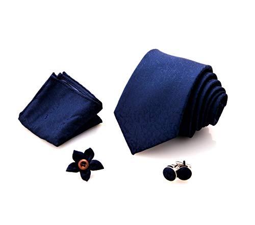 First Impact - Corbata de hombre + gemelos camisa hombre + funda de bolsillo para hombre + pin chaqueta hombre (juego de corbata para hombre 4 piezas) Caja regalo hombre Blu Marmorizzato Talla única