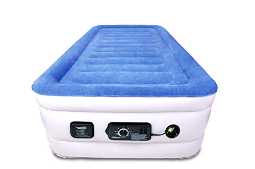SoundAsleep Products SoundAsleep CloudNine Series Twin Air Mattress with Dual Smart Pump Technology (Blue Top/Beige Body, Twin)