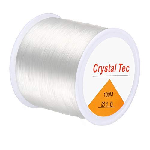Kissbuty 1 rollo de hilo de nailon elástico de 1,0 mm, hilo de nailon para manualidades, pulseras y cuentas, 100 m