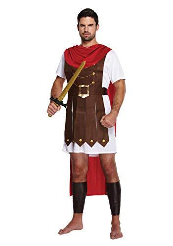 Emmas Wardrobe Römischer Soldat Kostüm | Gladiator Tunika mit Angenähtem Umhang und Bein Gauntlets | UK Größen M-XL | Gladiator Kostüm oder Römischer Soldat Kostüm für Halloween (Men: X-Large, Brown)