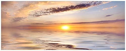 Wallario Acrylglasbild Sonnenuntergang über dem Wasser - 50 x 125 cm in Premium-Qualität: Brillante Farben, freischwebende Optik