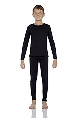 Rocky Thermal Underwear for Boys Fleece Lined Thermals Kids Base Layer Long John Set Black