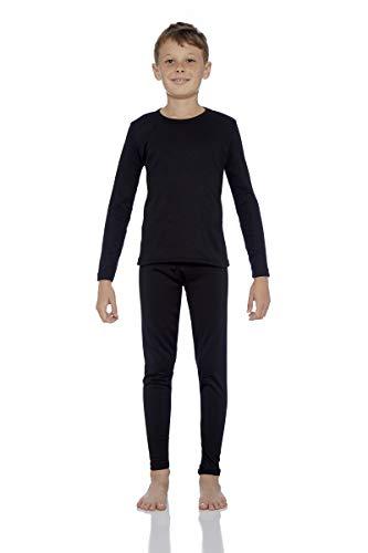 Rocky Thermal Underwear for Boys (Thermal Long Johns Set) Shirt & Pants, Base Layer w/Leggings/Bottoms Ski/Extreme Cold (Black – Medium)